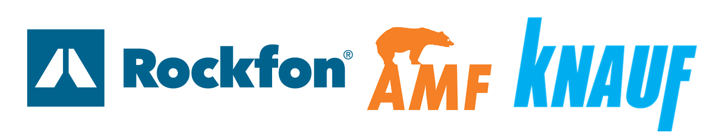 our partners logos, Knauf, AMF, Rockfon